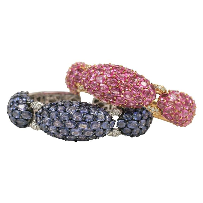 Pink and Blue Sapphire Dinner Bangles For Sale