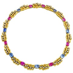 Pink and Blue Sapphire Necklace