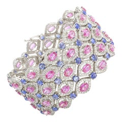 Pink and Blue Sapphires 48 Carat With Diamonds 9.36 Carat Bracelet