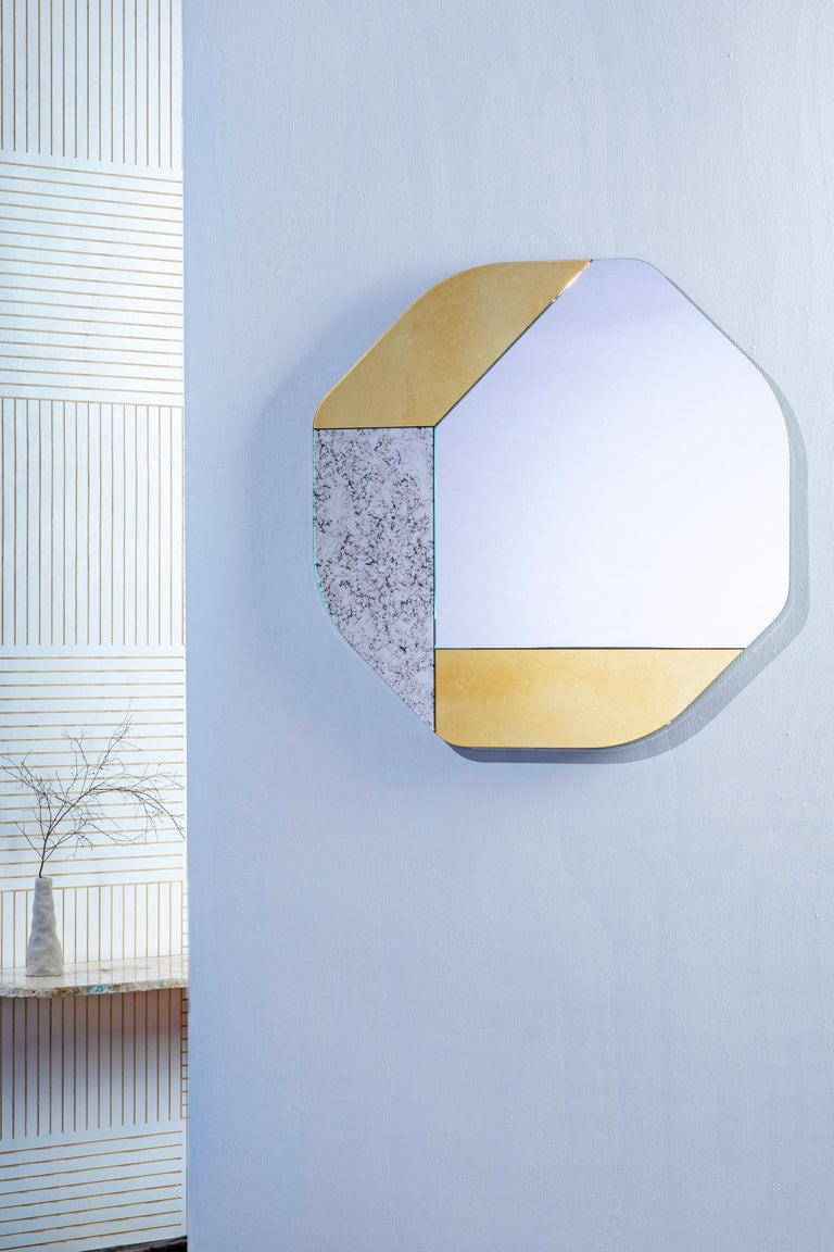 American Pink and Blue WG.C1.B Hand-Crafted Wall Mirror For Sale