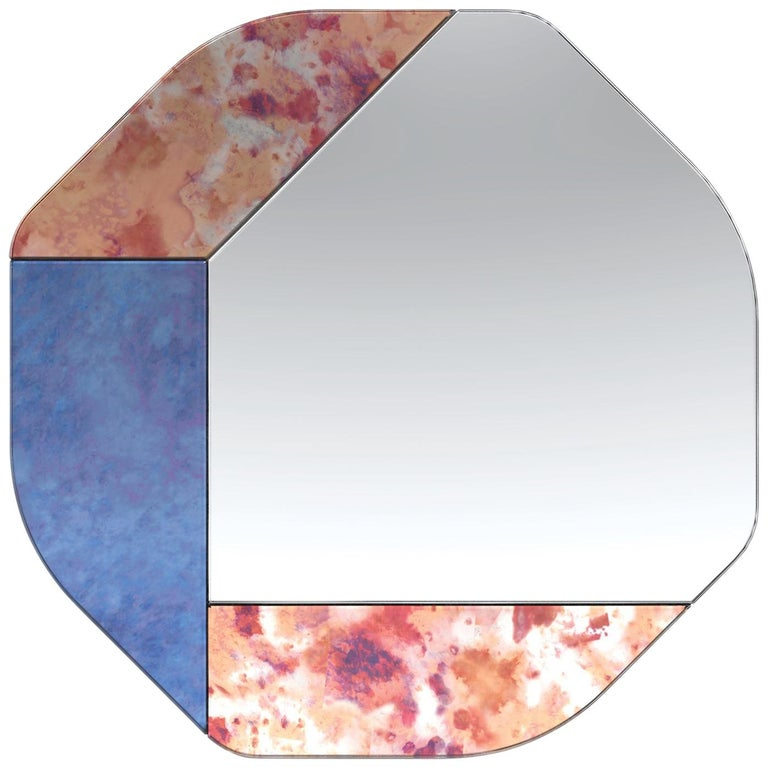 Pink and Blue WG.C1.B Hand-Crafted Wall Mirror For Sale