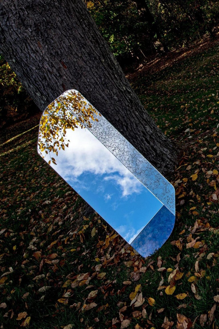 Dyed Pink and Blue WG.C1.D Hand-Crafted Wall Mirror For Sale