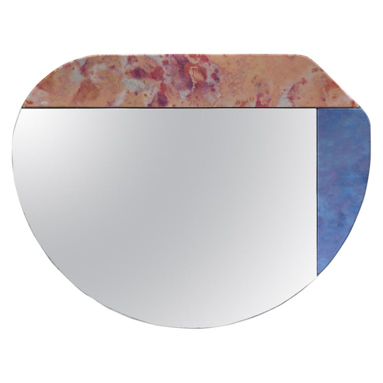 Pink and Blue WG.C1.E Hand-Crafted Wall Mirror For Sale