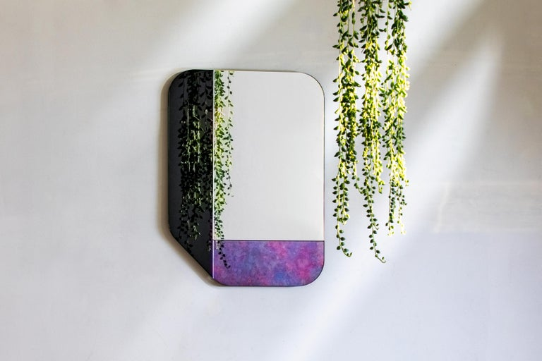 Dyed Pink and Blue WG.C1.F Hand-Crafted Wall Mirror For Sale