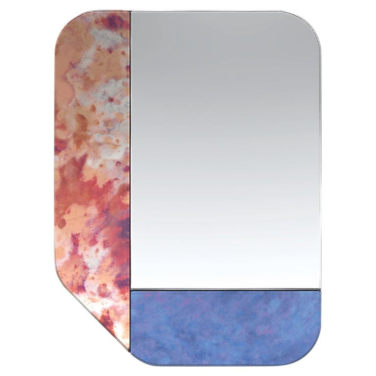 Pink and Blue WG.C1.F Hand-Crafted Wall Mirror For Sale