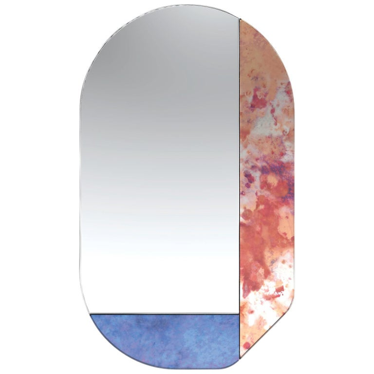 Pink and Blue WG.C1.G Hand-Crafted Wall Mirror For Sale