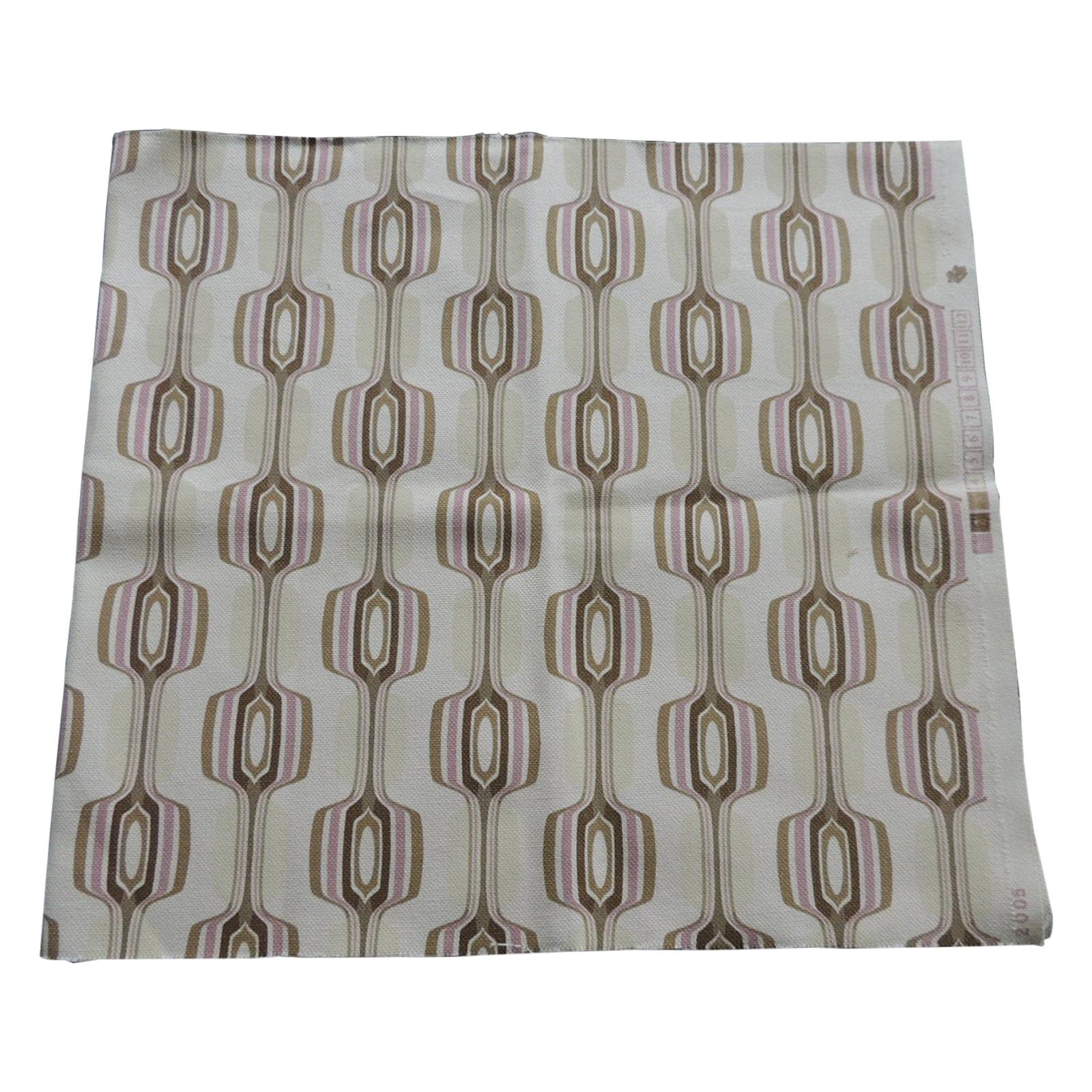"""Pink and Brown """"MOD"""" Style Print Fabric Panel"""
