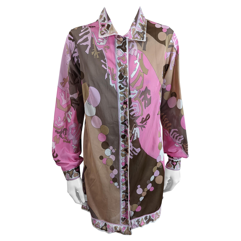 Pink and Brown Pucci Shirt Dress