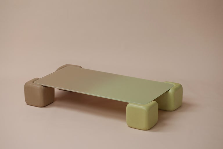 Modern Pink and Chartreuse Tavolo Morbido in Color Fade Glass by Studio Mignone For Sale