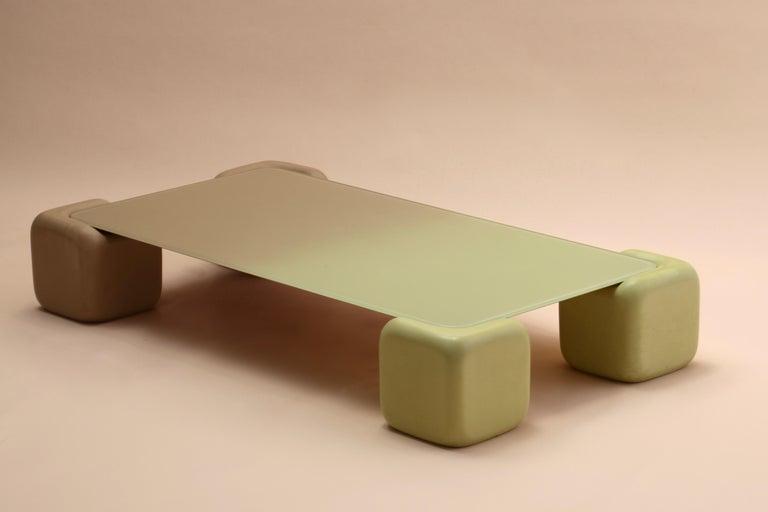 Australian Pink and Chartreuse Tavolo Morbido in Color Fade Glass by Studio Mignone For Sale