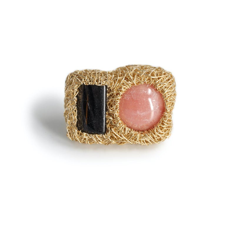 Pink and Deep Grey Gold Cocktail Statement Ring by Sheila Westera in Stock In New Condition For Sale In Engelberg, CH