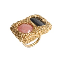 Pink and Deep Grey Gold Cocktail Statement Ring by Sheila Westera in Stock