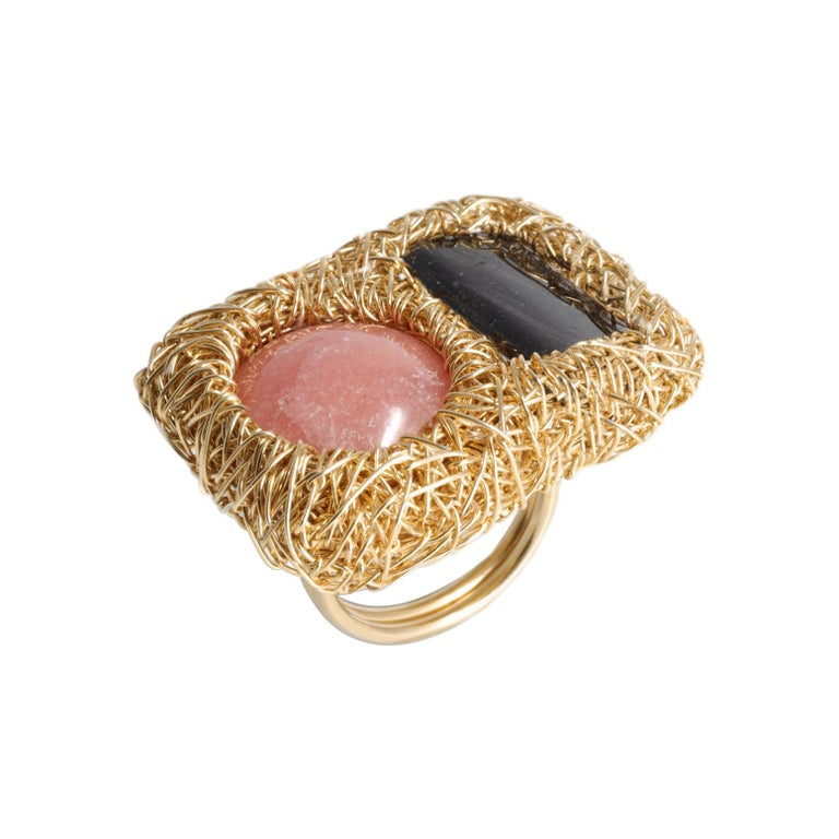 Pink and Deep Grey Gold Cocktail Statement Ring by Sheila Westera in Stock For Sale