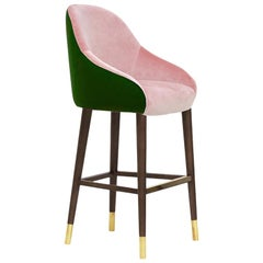Pink and Emerald Green Velvet with Brass Sabots Bar Stool Milonga