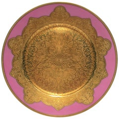 German Pink and Gold Plate or Wall Art