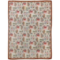 Pink and Green Antique American Hooked Rug with Checkered Floral Bouquet Pattern