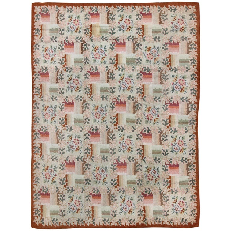 Red And White Checkered Rug: Pink And Green Antique American Hooked Rug With Checkered