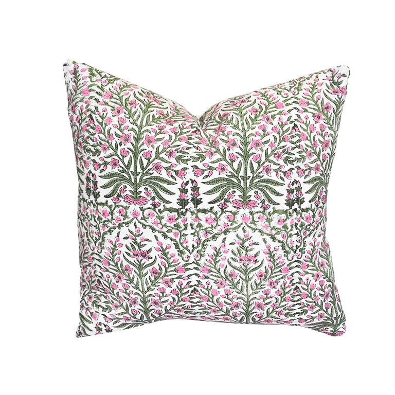 Custom created from fabric sourced from artisans in India, this comfy down filled pillow will not disappoint. Each pillow is double sided in a lovely green and pink block print floral motif design. A down fill insert is included, and features a