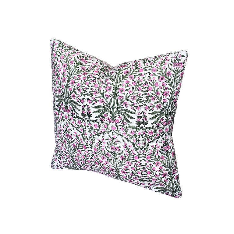 Anglo-Indian Pink and Green Block Print Down Filled Pillows, India For Sale