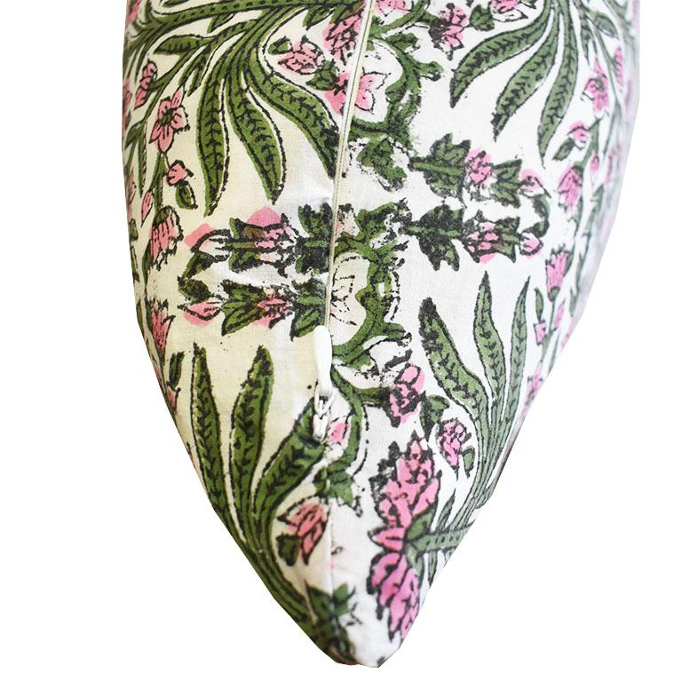 Indian Pink and Green Block Print Down Filled Pillows, India For Sale