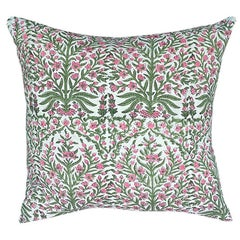 Pink and Green Block Print Down Filled Pillows, India