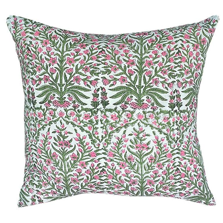 Pink and Green Block Print Down Filled Pillows, India For Sale
