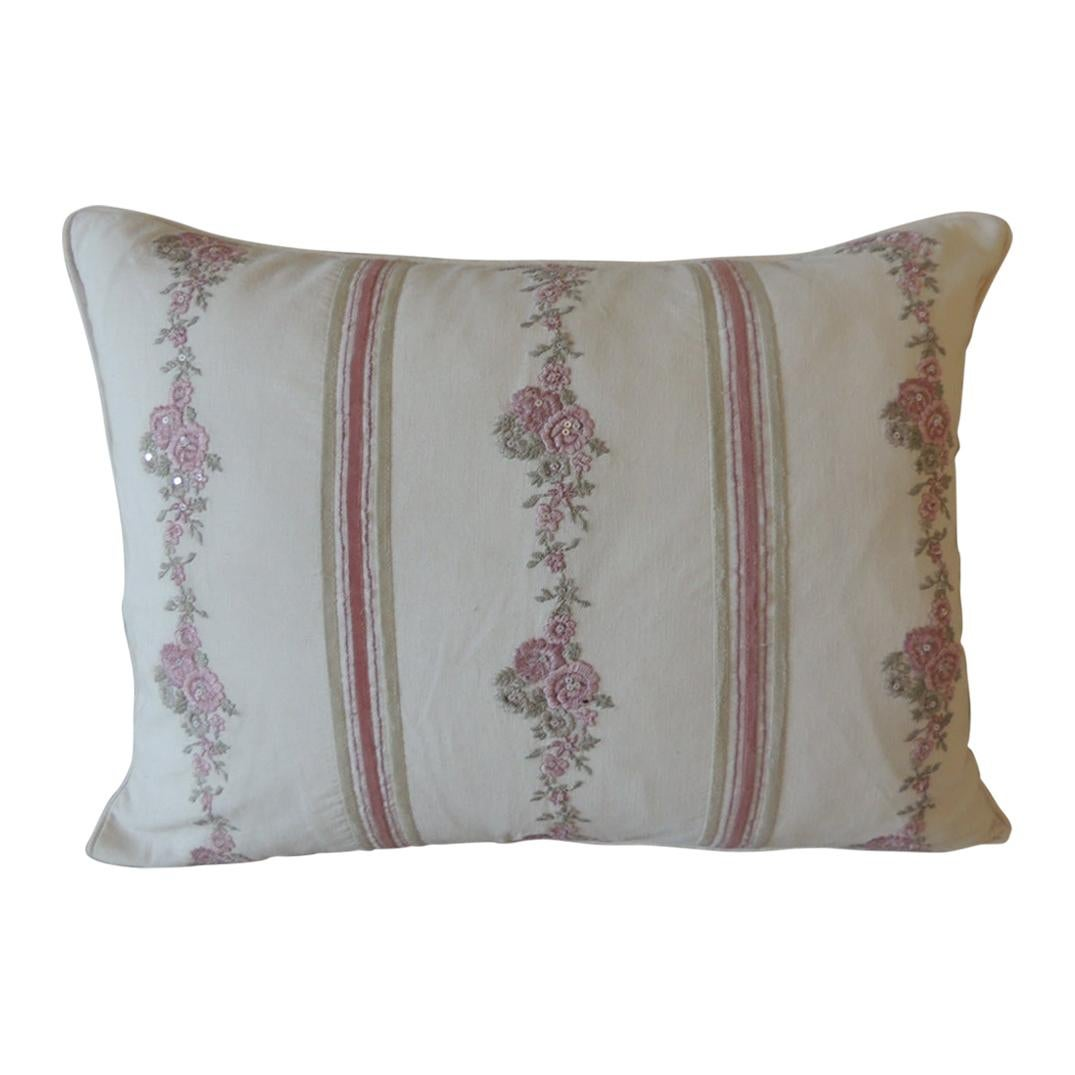 Pink and Green Embroidered Floral Modern Bolster Decorative Pillow