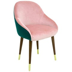 Pink and Green Emerald Velvet with Brass Sabots Dining Chair Milonga