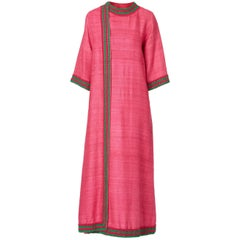 Pink and green linen wrap kaftan, circa 1967