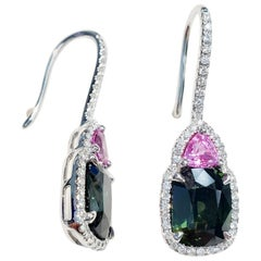 Pink and Green Sapphire Earrings with Diamonds