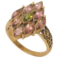 Pink and Green Tourmaline 18 Karat Gold Cocktail Ring
