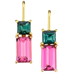 Pink and Green Tourmaline 18 Karat Rose and Yellow Gold Earrings