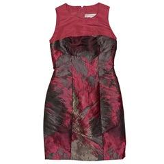 Pink And Grey Carolina Herrera Brocade Mini Dress