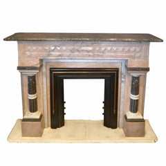 Pink and Grey Victorian Marble Mantel