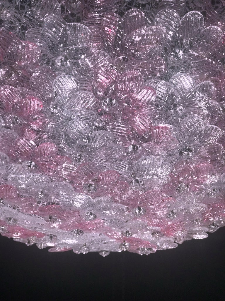 Pink and Ice Flowers Basket Murano Glass Ceiling Light by Barovier & Toso For Sale 3