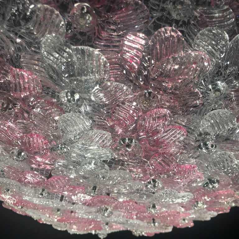 Pink and Ice Flowers Basket Murano Glass Ceiling Light by Barovier & Toso In Excellent Condition For Sale In Rome, IT