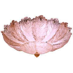 Pink and Ice Leaves Murano Glass Ceiling Light or Flush Mount, 1970