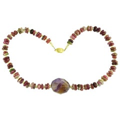Pink and Mauve Necklace of Tourmaline and Amethyst