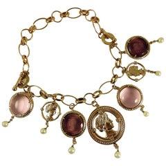 Pink and Purple Murano Glass and Bronze Charm Bracelet by Patrizia Daliana
