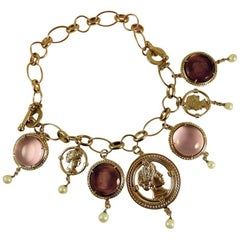 Pink and Purple Murano Glass and Bronze Charms Bracelet by Patrizia Daliana