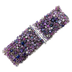 Pink and Purple Sapphire Bracelet with Diamond Accents