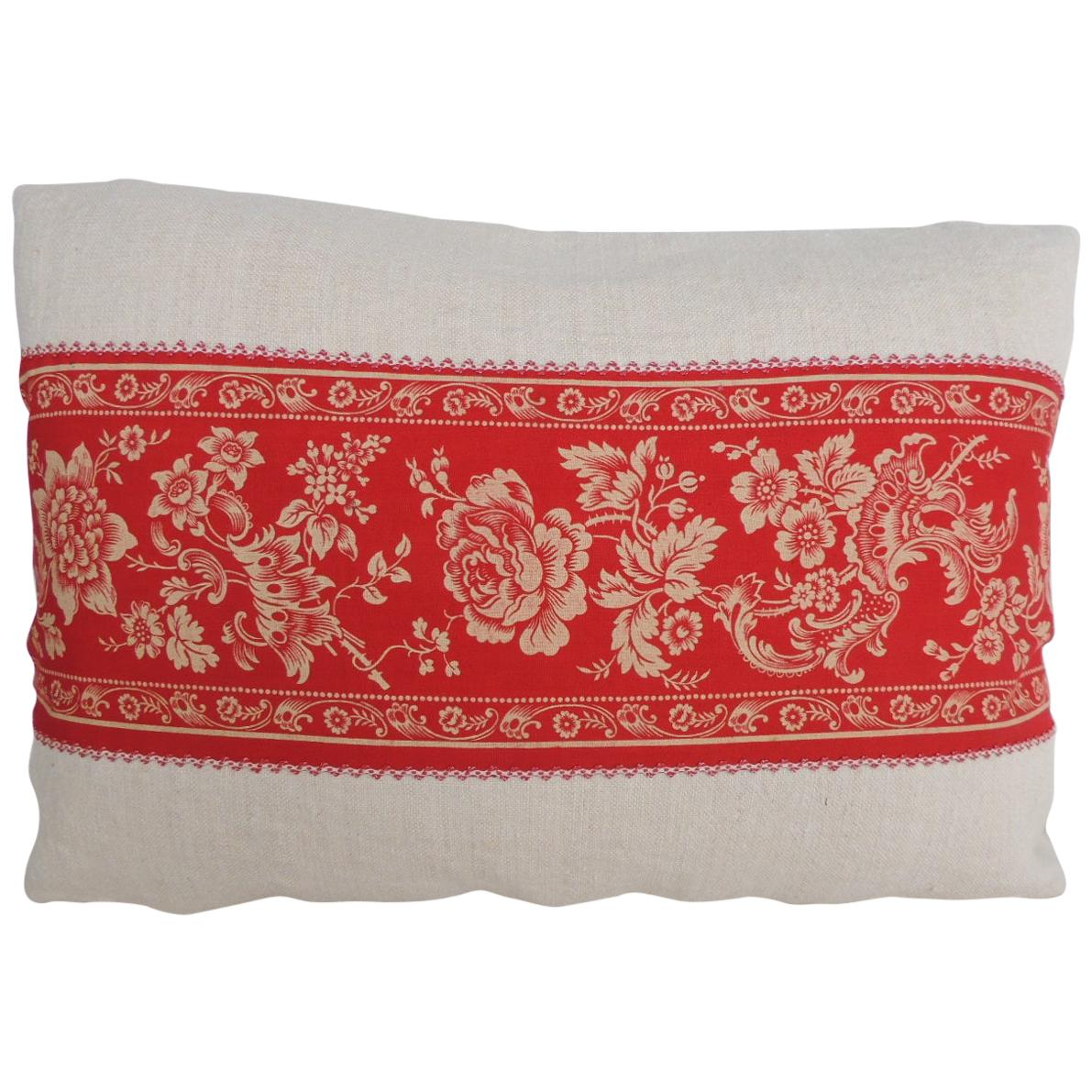 Pink and Red French Floral Decorative Lumbar Decorative Pillow