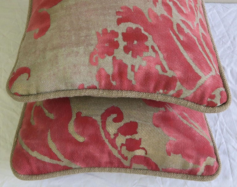 Baroque Pink and Silvery Gold Fortuny Textile Pillows, Pair For Sale