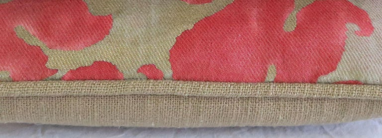 Italian Pink and Silvery Gold Fortuny Textile Pillows, Pair For Sale