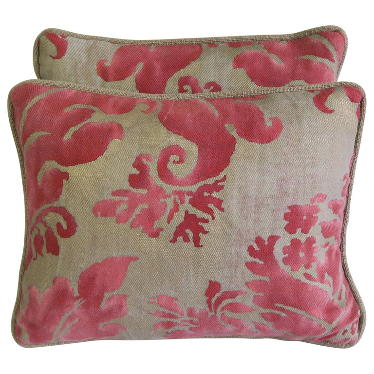 Pink and Silvery Gold Fortuny Textile Pillows, Pair For Sale