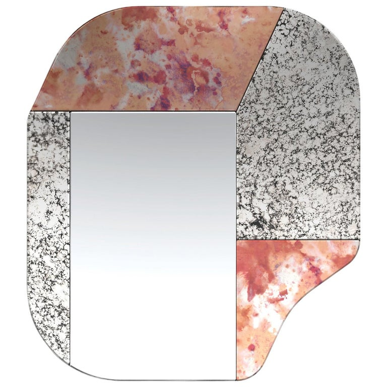 Pink and Speckled WG.C1.A Hand-Crafted Wall Mirror For Sale