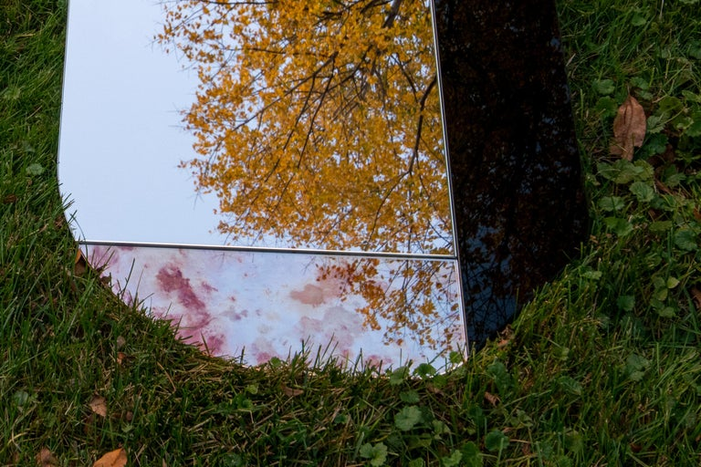 Paper Pink and Speckled WG.C1.B Hand-Crafted Wall Mirror For Sale