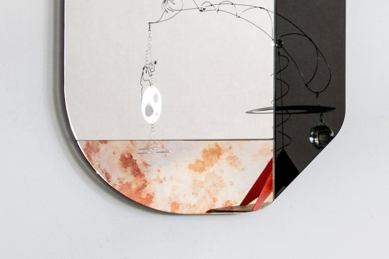 Pink and Speckled WG.C1.B Hand-Crafted Wall Mirror For Sale 1