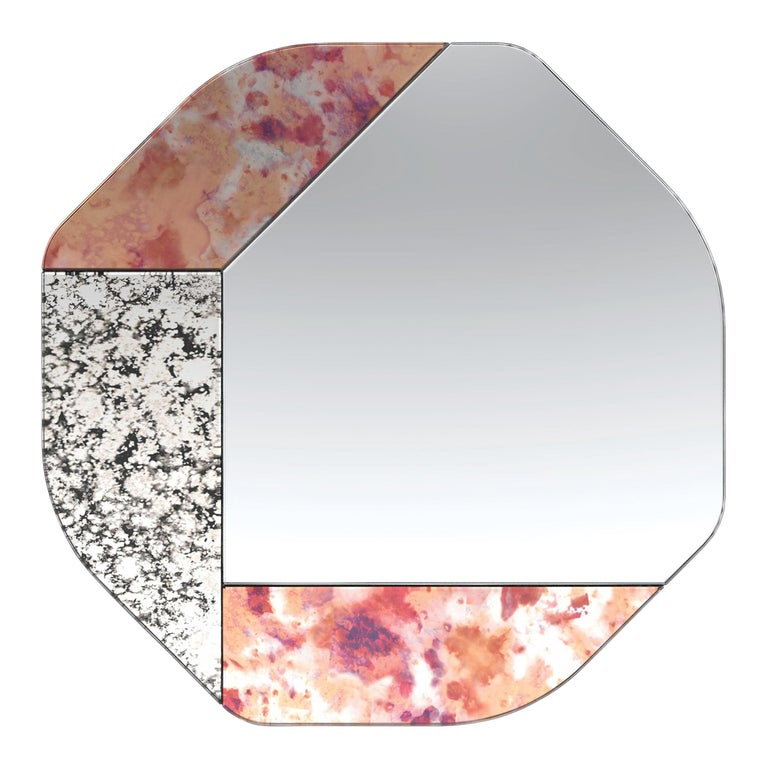 Pink and Speckled WG.C1.B Hand-Crafted Wall Mirror For Sale