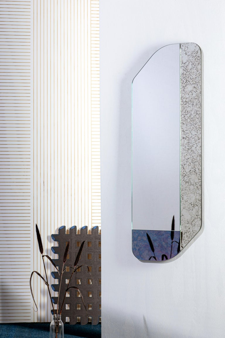 American Pink and Speckled WG.C1.D Hand-Crafted Wall Mirror For Sale